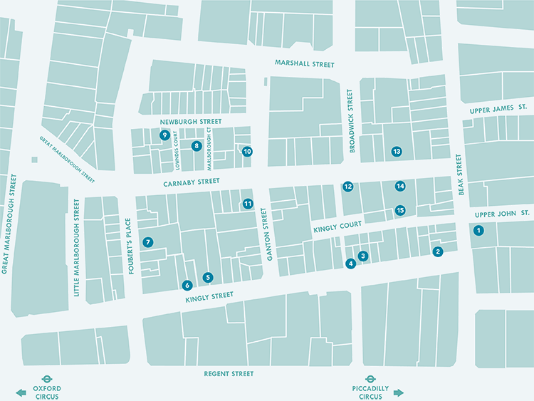 Map of the Carnaby Street Area